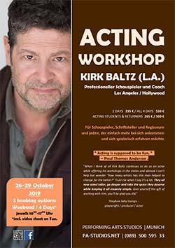 Acting Workshop mit Kirk Baltz für Film und Video inkl. Meisner und Method Acting in München