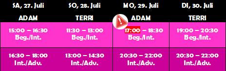Sommer Jazz Dance Workshop Timetable